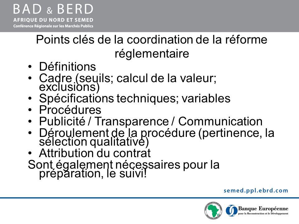 Points clés de la coordination de la réforme réglementaire