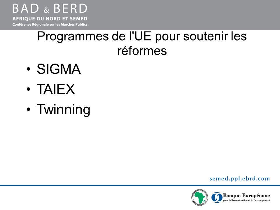 Programmes de l UE pour soutenir les réformes