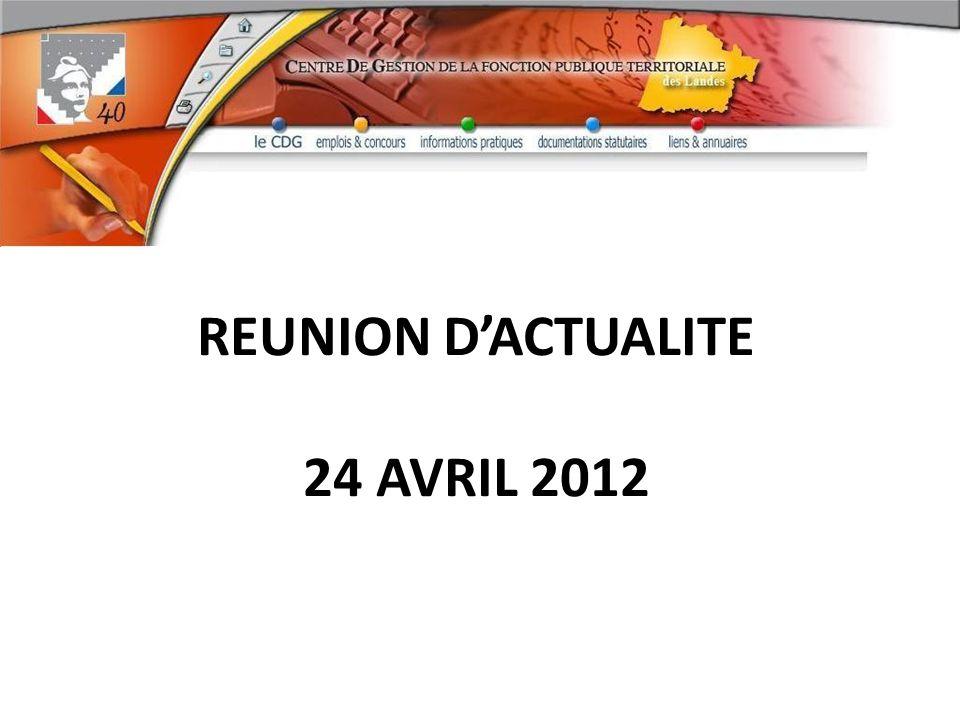 REUNION D'ACTUALITE 24 AVRIL 2012