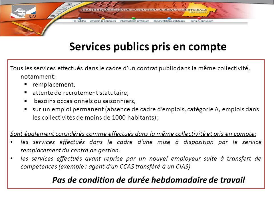 Services publics pris en compte