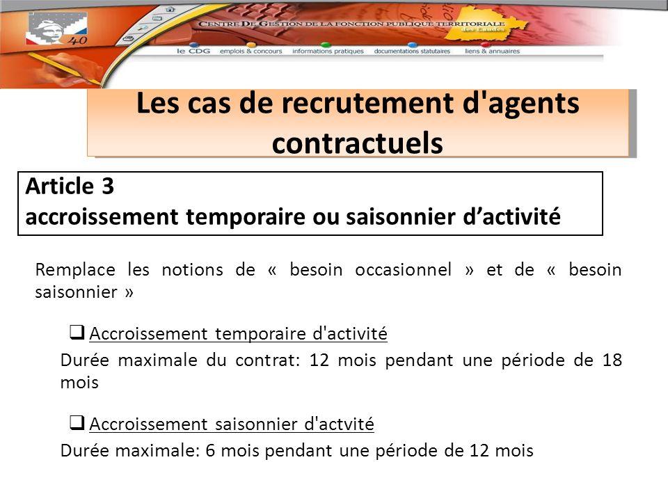 Les cas de recrutement d agents contractuels