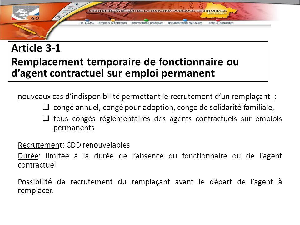 Article 3-1 Remplacement temporaire de fonctionnaire ou d'agent contractuel sur emploi permanent.