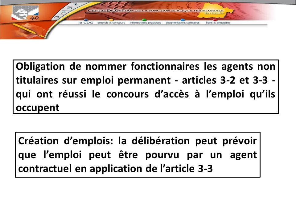 Obligation de nommer fonctionnaires les agents non titulaires sur emploi permanent - articles 3-2 et 3-3 - qui ont réussi le concours d'accès à l'emploi qu'ils occupent