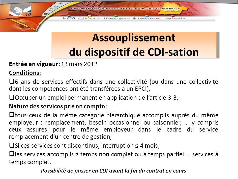 Assouplissement du dispositif de CDI-sation