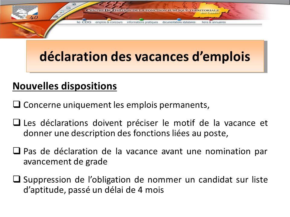 déclaration des vacances d'emplois