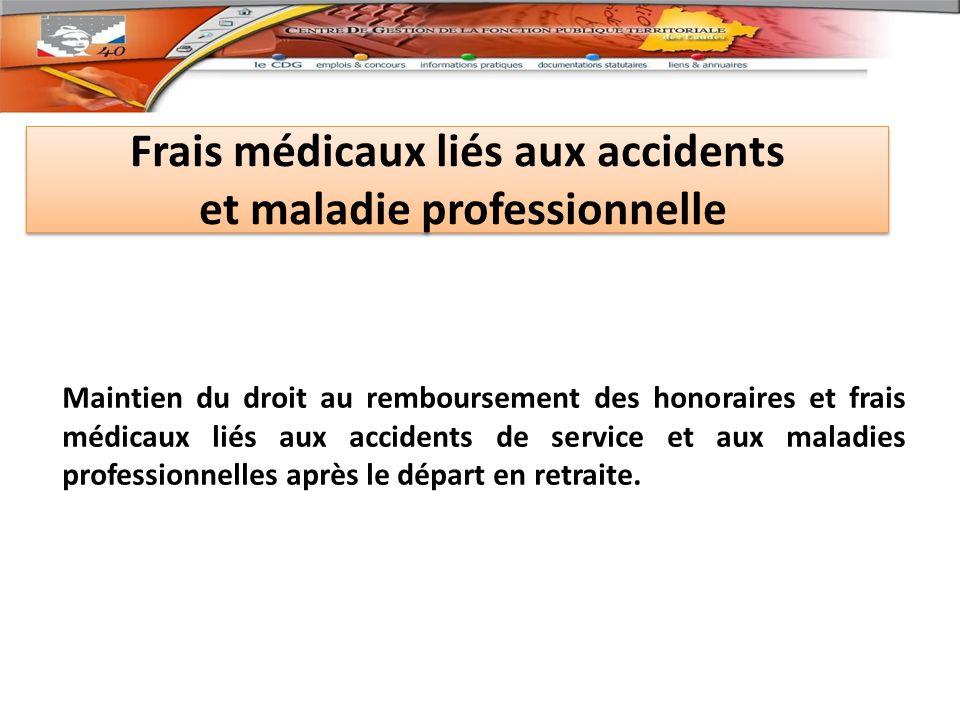 Frais médicaux liés aux accidents et maladie professionnelle