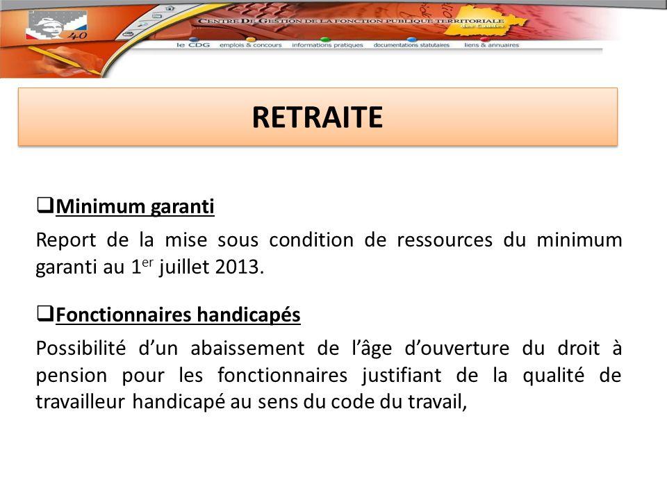 RETRAITE Minimum garanti