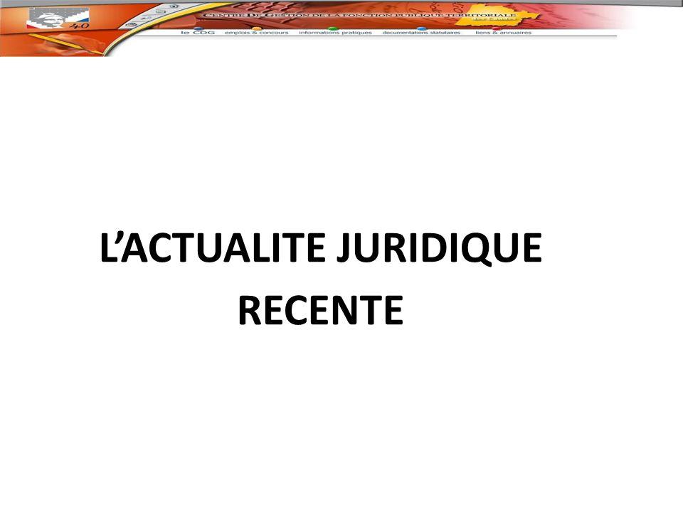 L'ACTUALITE JURIDIQUE