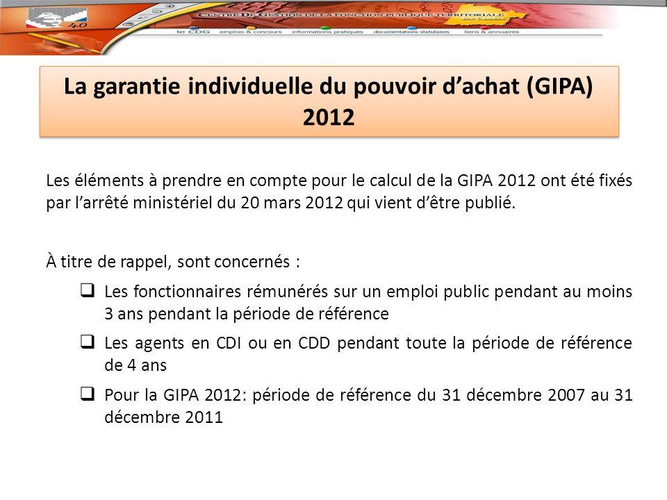 La garantie individuelle du pouvoir d'achat (GIPA) 2012