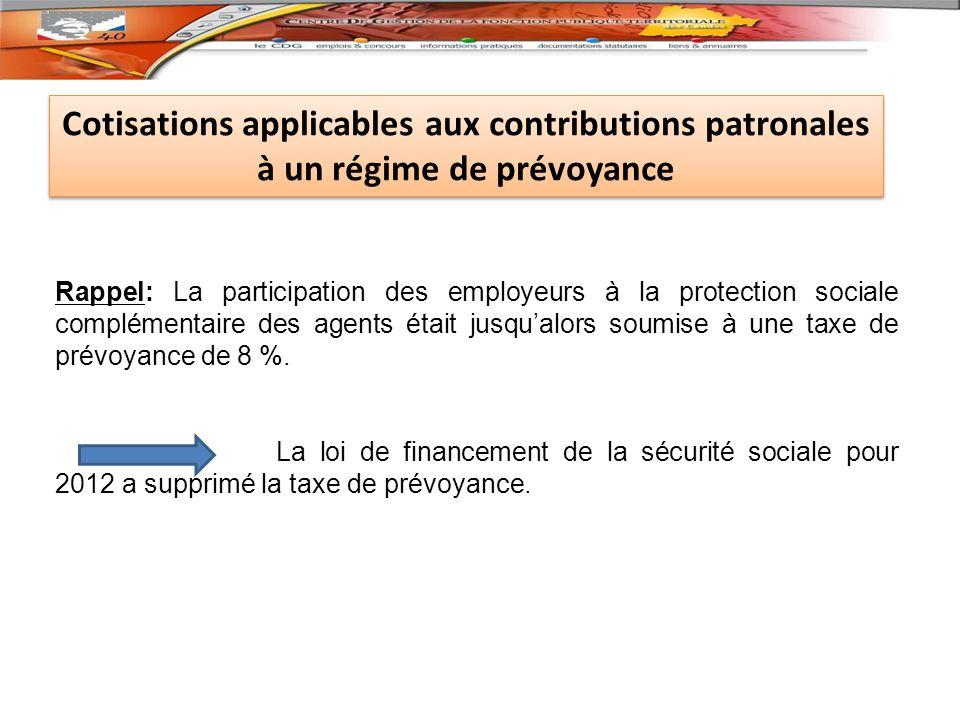 Cotisations applicables aux contributions patronales à un régime de prévoyance
