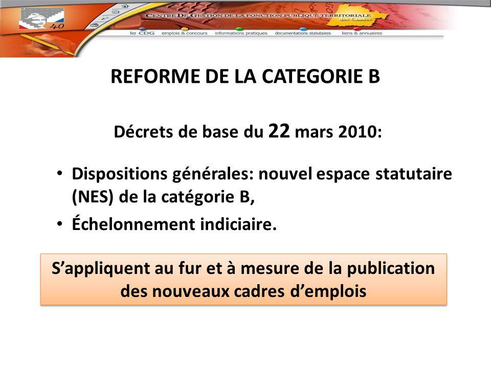 REFORME DE LA CATEGORIE B Décrets de base du 22 mars 2010: