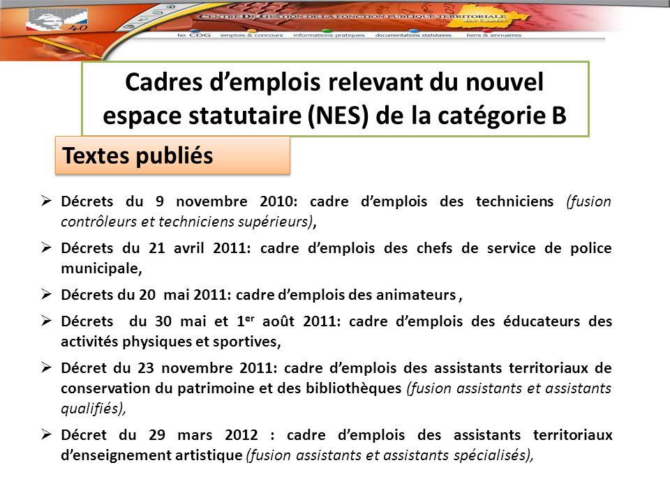 Cadres d'emplois relevant du nouvel espace statutaire (NES) de la catégorie B