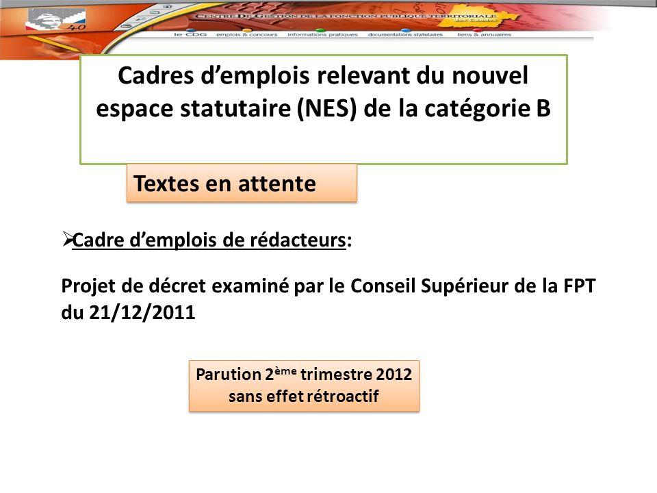 Parution 2ème trimestre 2012 sans effet rétroactif