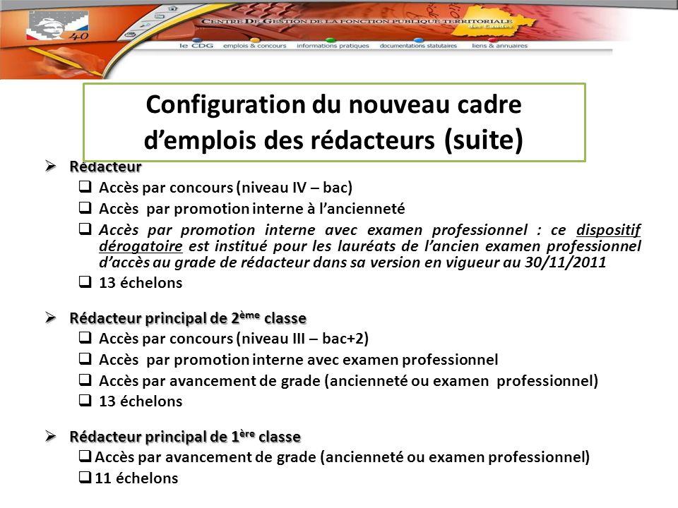 Configuration du nouveau cadre d'emplois des rédacteurs (suite)