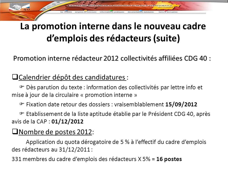 Promotion interne rédacteur 2012 collectivités affiliées CDG 40 :