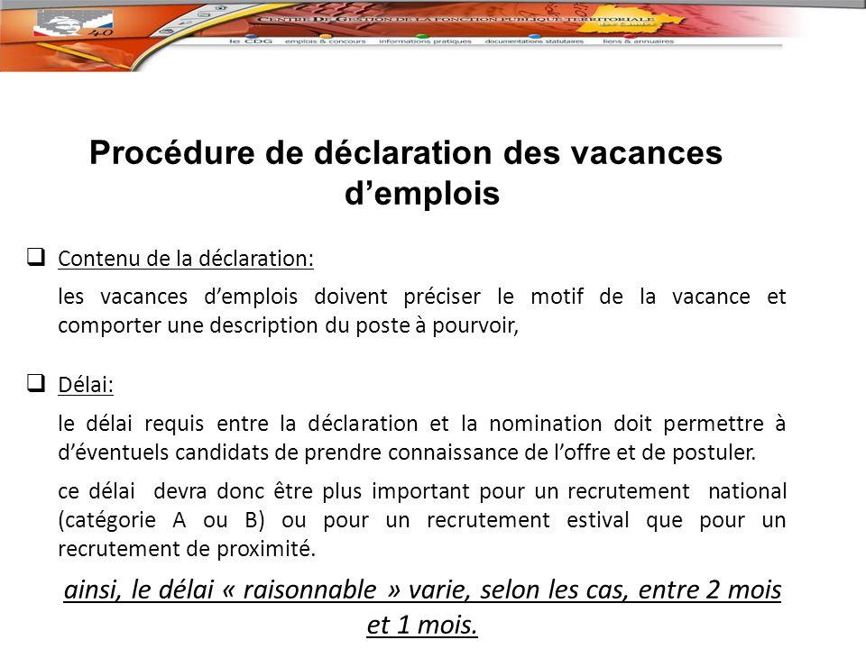 Procédure de déclaration des vacances d'emplois