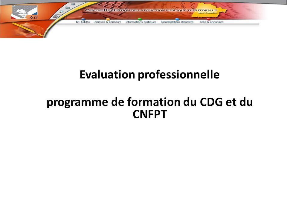 Evaluation professionnelle programme de formation du CDG et du CNFPT