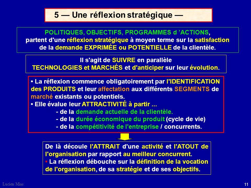 5 — Une réflexion stratégique —