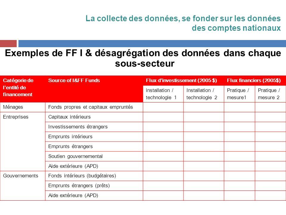 Exemples de FF I & désagrégation des données dans chaque sous-secteur