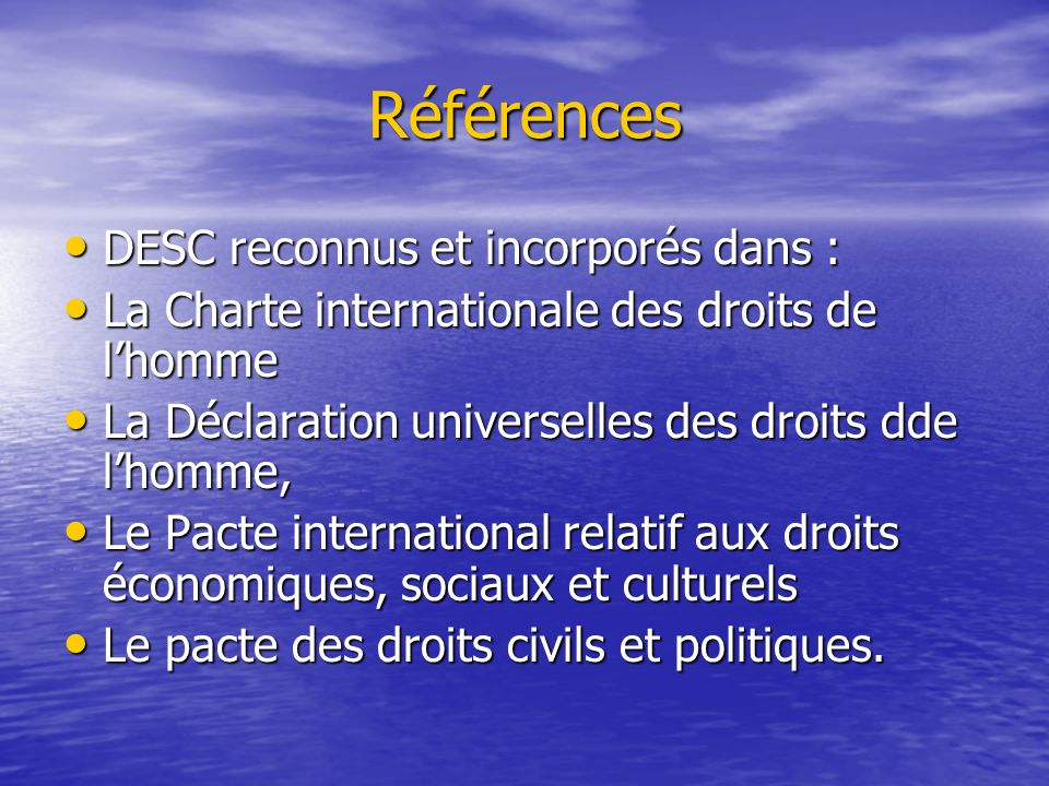 Références DESC reconnus et incorporés dans :