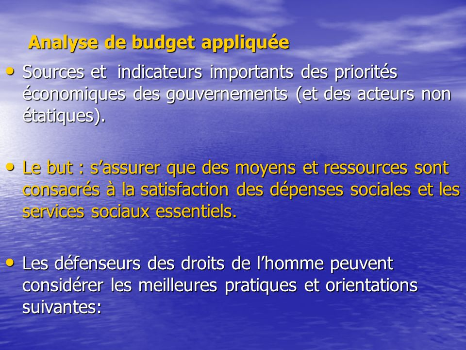 Analyse de budget appliquée