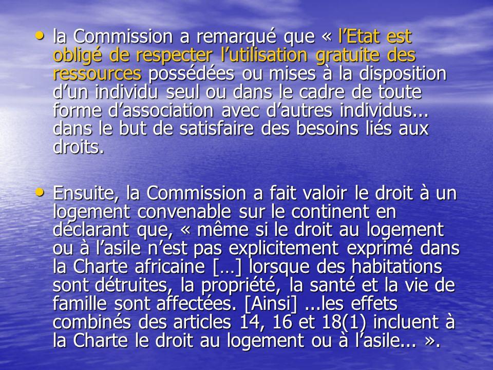 la Commission a remarqué que « l'Etat est obligé de respecter l'utilisation gratuite des ressources possédées ou mises à la disposition d'un individu seul ou dans le cadre de toute forme d'association avec d'autres individus... dans le but de satisfaire des besoins liés aux droits.