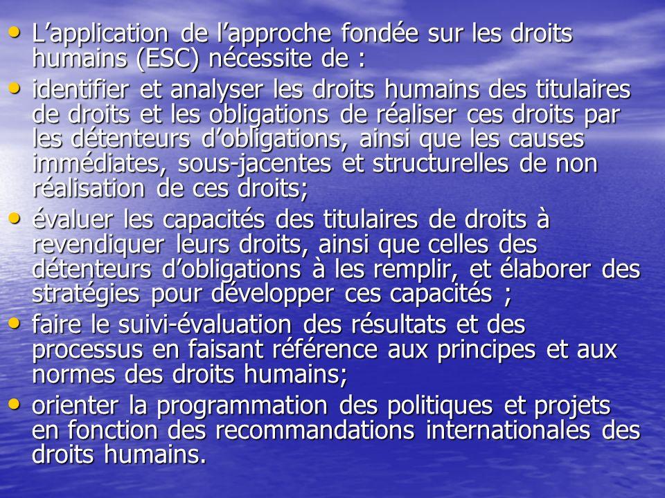 L'application de l'approche fondée sur les droits humains (ESC) nécessite de :