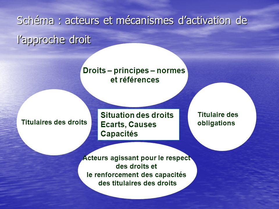 Schéma : acteurs et mécanismes d'activation de l'approche droit