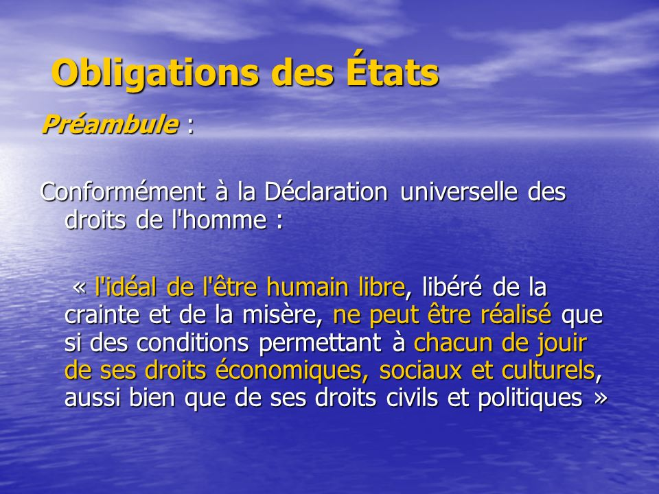 Obligations des États Préambule :