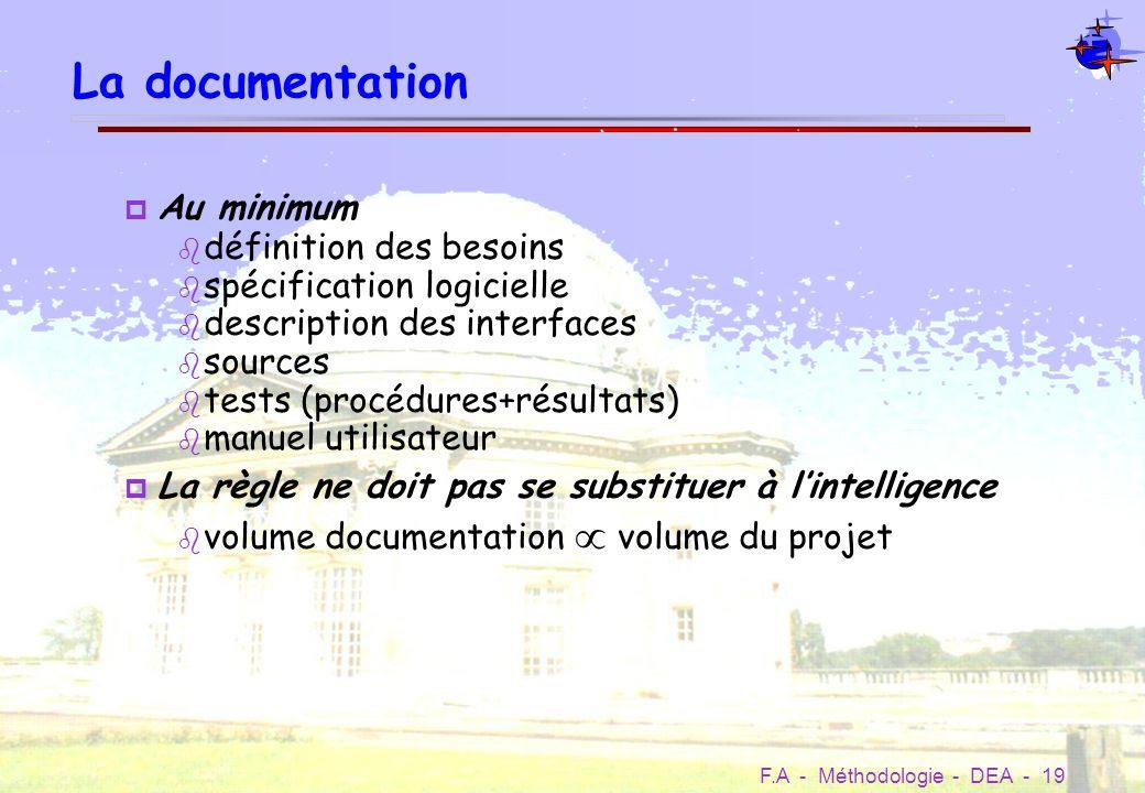 La documentation Au minimum définition des besoins
