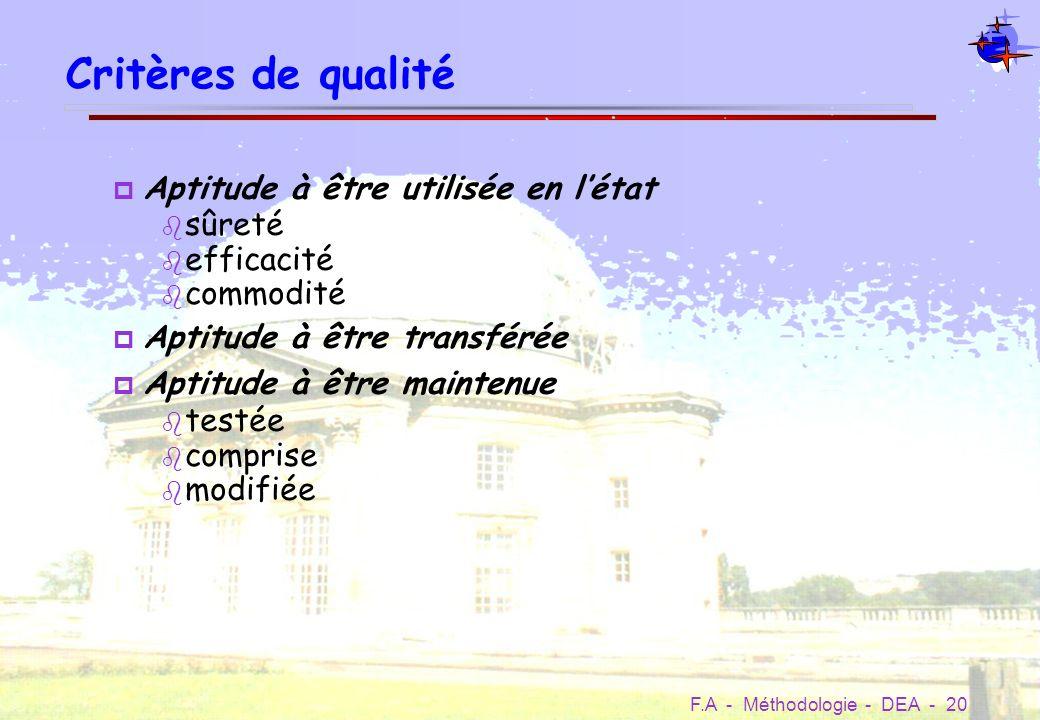 Critères de qualité Aptitude à être utilisée en l'état sûreté