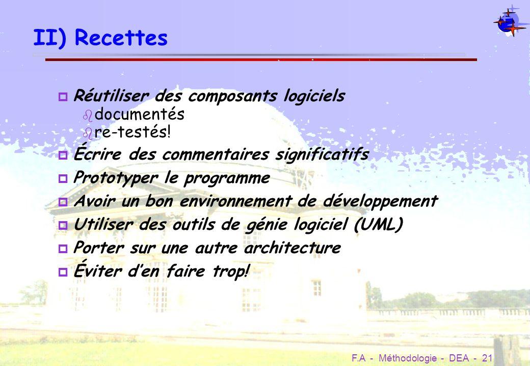 II) Recettes Réutiliser des composants logiciels documentés re-testés!