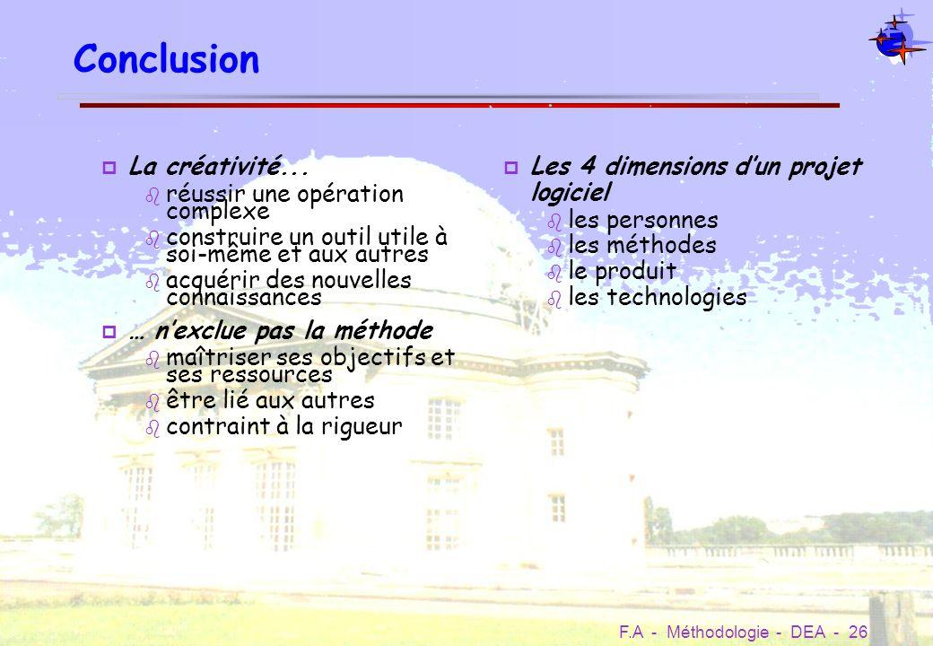 Conclusion La créativité... réussir une opération complexe