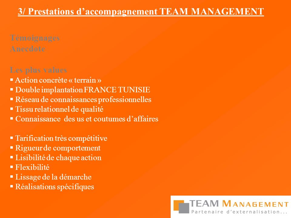 3/ Prestations d'accompagnement TEAM MANAGEMENT