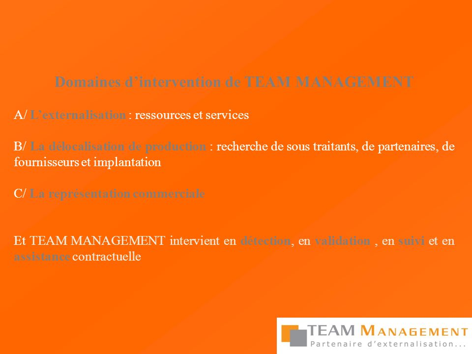 Domaines d'intervention de TEAM MANAGEMENT