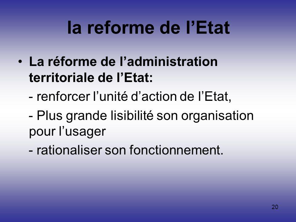 la reforme de l'Etat La réforme de l'administration territoriale de l'Etat: - renforcer l'unité d'action de l'Etat,