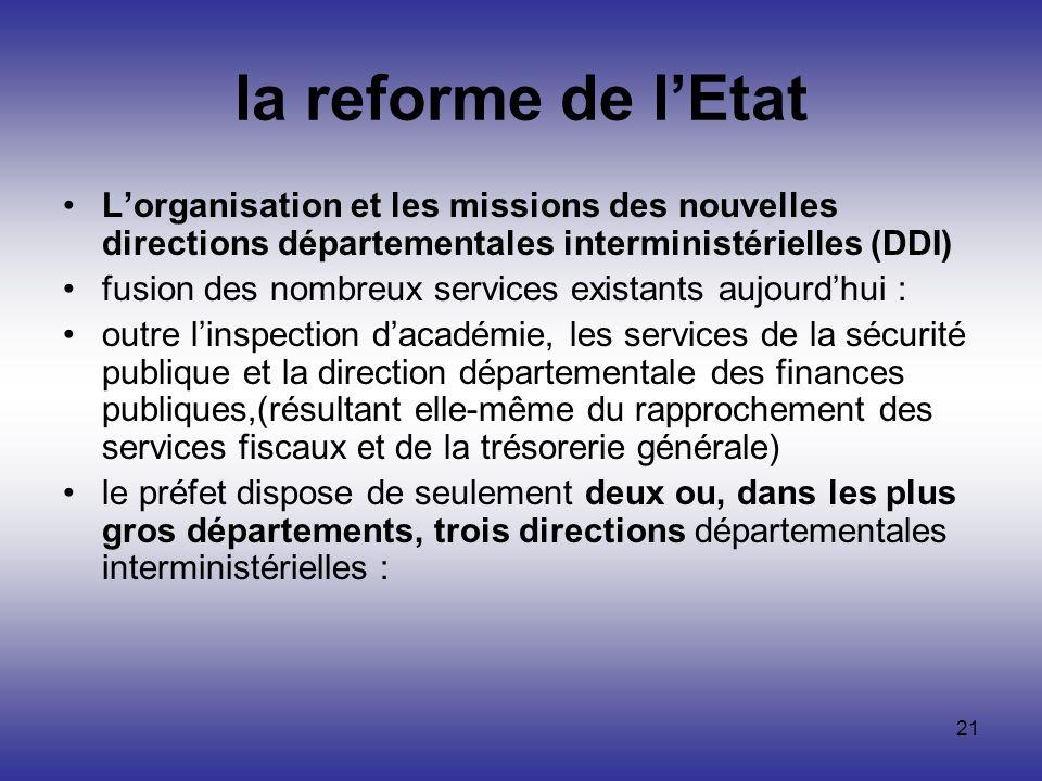 la reforme de l'Etat L'organisation et les missions des nouvelles directions départementales interministérielles (DDI)