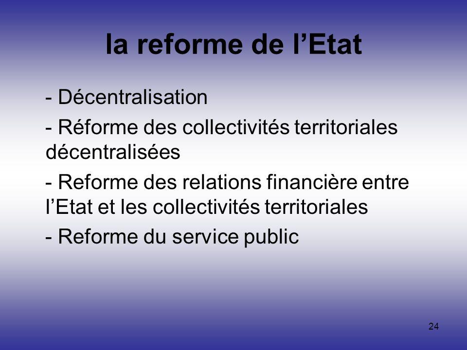la reforme de l'Etat - Décentralisation