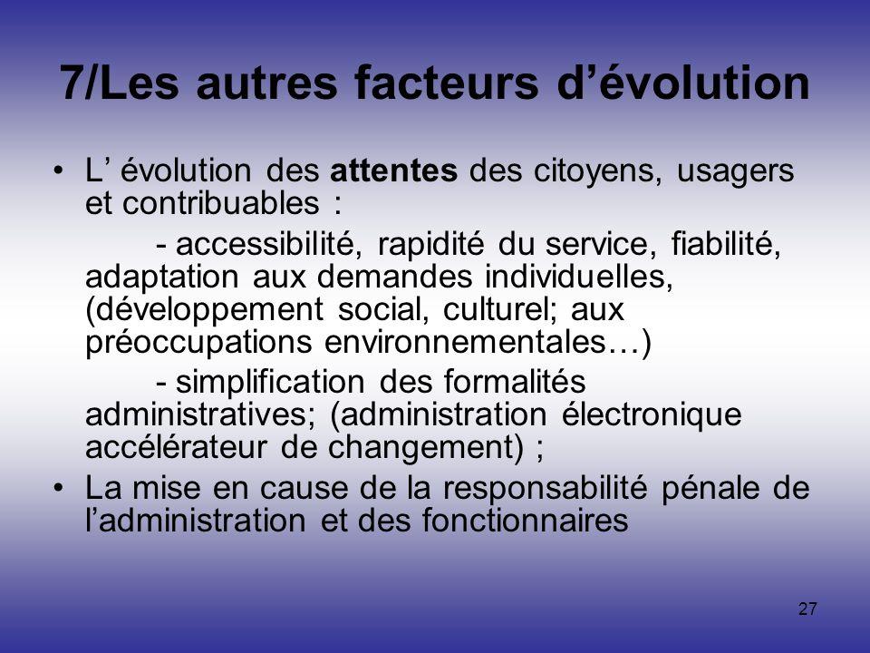 7/Les autres facteurs d'évolution