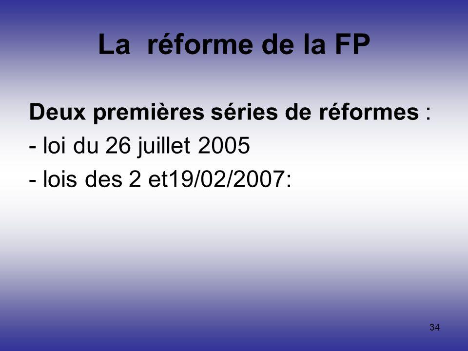 La réforme de la FP Deux premières séries de réformes :