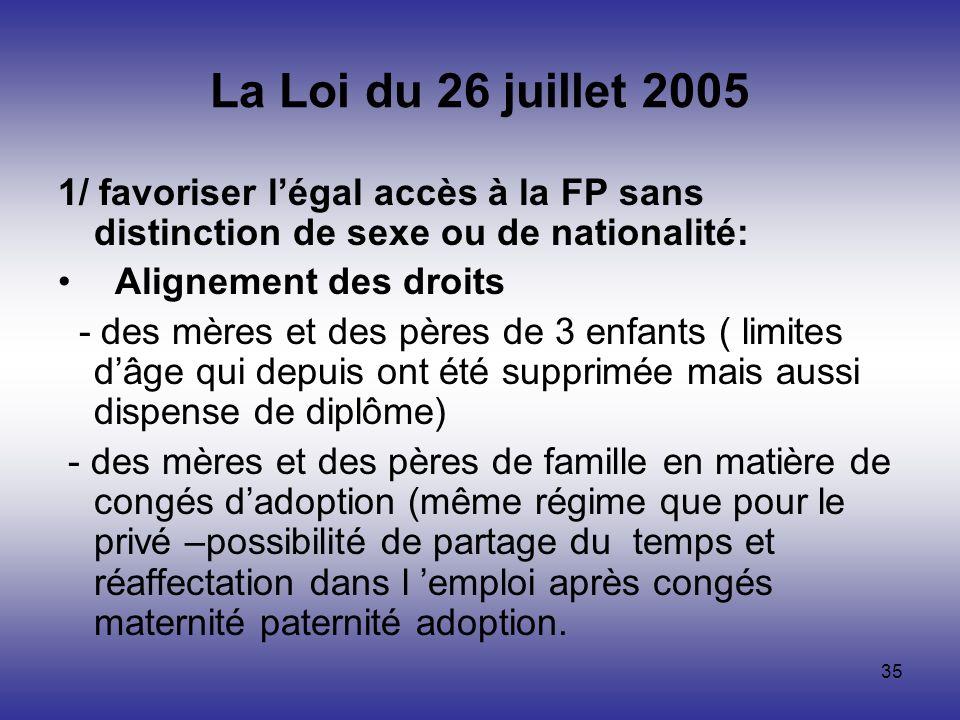 La Loi du 26 juillet 2005 1/ favoriser l'égal accès à la FP sans distinction de sexe ou de nationalité: