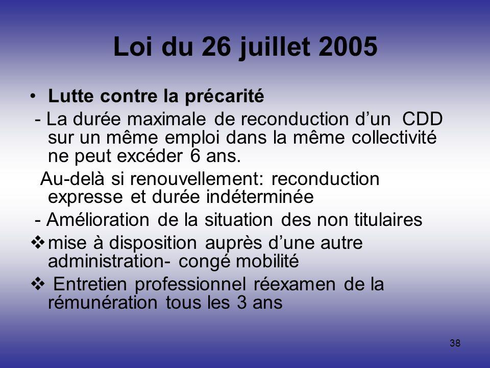 Loi du 26 juillet 2005 Lutte contre la précarité