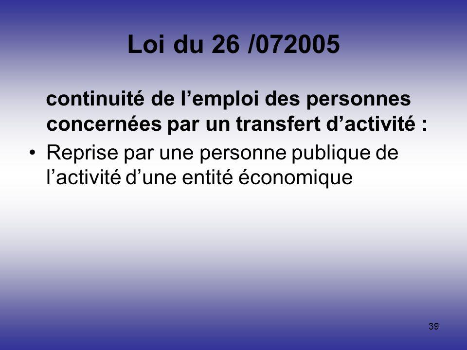 Loi du 26 /072005 continuité de l'emploi des personnes concernées par un transfert d'activité :