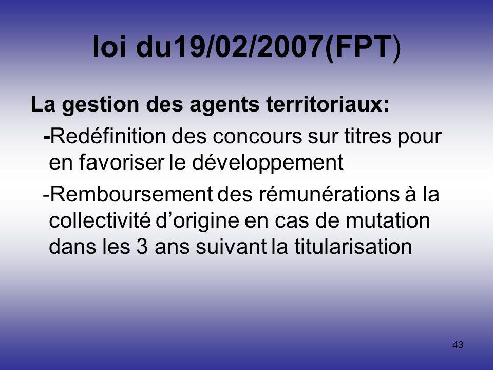 loi du19/02/2007(FPT) La gestion des agents territoriaux:
