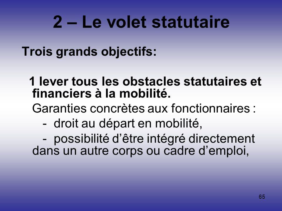 2 – Le volet statutaire Trois grands objectifs: