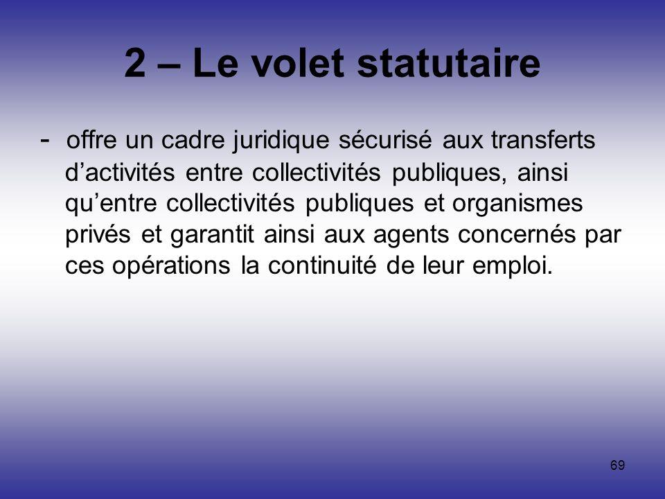 2 – Le volet statutaire