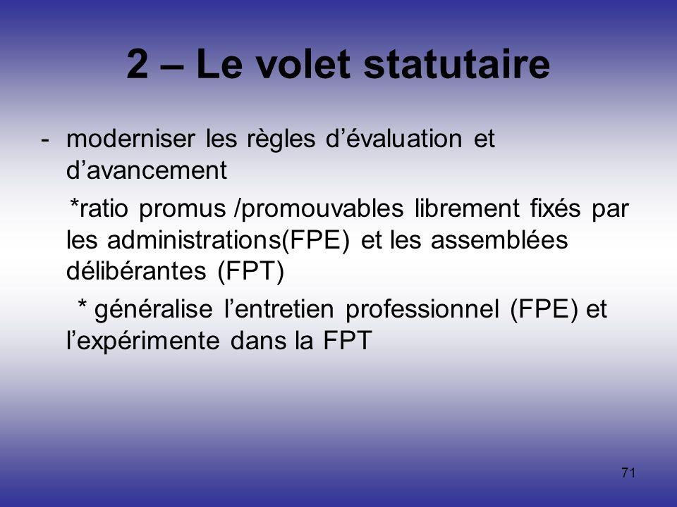 2 – Le volet statutaire moderniser les règles d'évaluation et d'avancement.