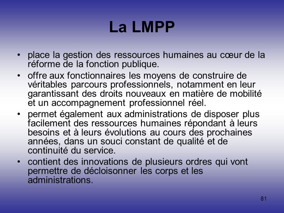 La LMPP place la gestion des ressources humaines au cœur de la réforme de la fonction publique.