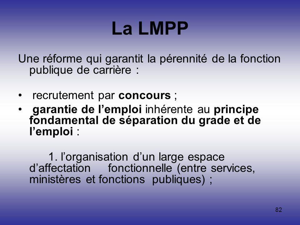 La LMPP Une réforme qui garantit la pérennité de la fonction publique de carrière : recrutement par concours ;