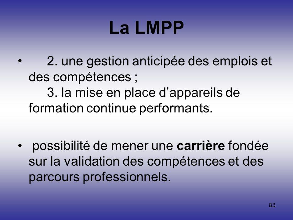 La LMPP 2. une gestion anticipée des emplois et des compétences ; 3. la mise en place d'appareils de formation continue performants.